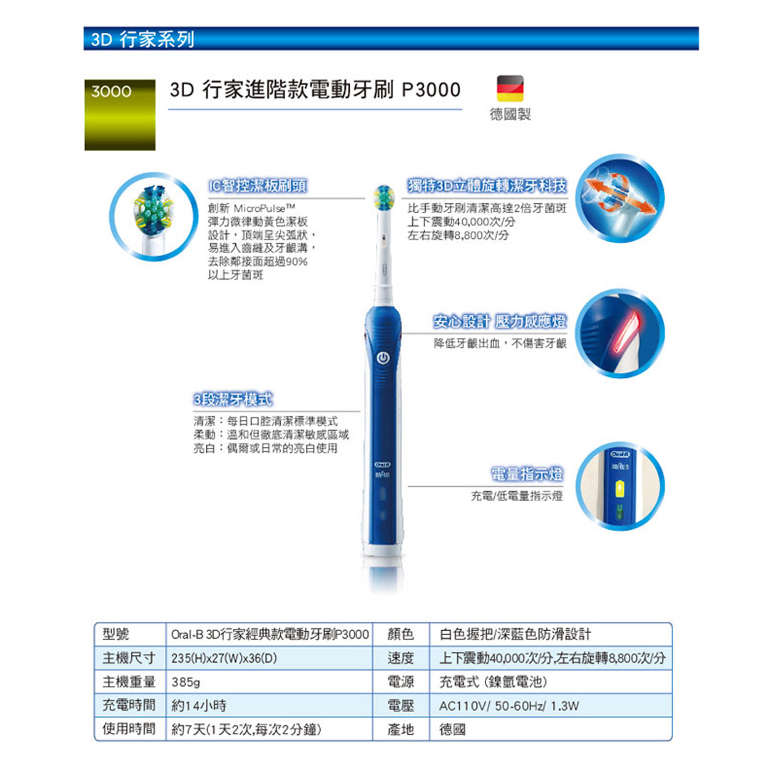 德國百靈 BRAUN Oral-B 3D行家經典款電動牙刷 P3000