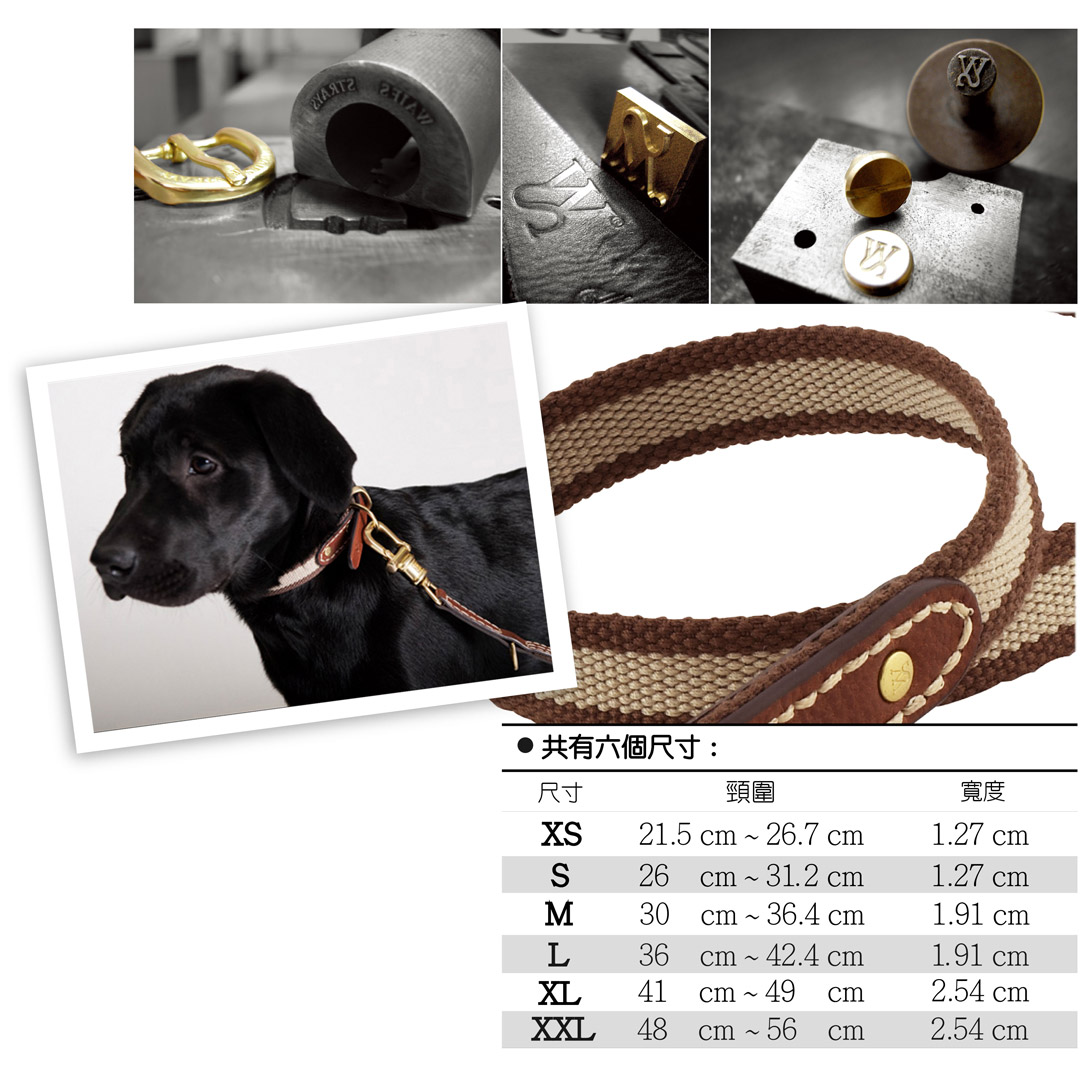 【FINAL CALL】WAIFS & STRAYS Leather and Webbing Collar 典雅織帶項圈 (棕色) (尺寸XL)