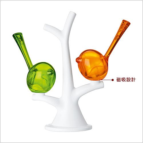 KOZIOL Pi樹梢小鳥調味罐(橘綠)