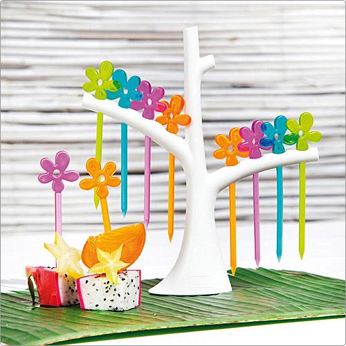 節慶派對佈置館 KOZIOL 樹梢櫻花短叉 (8入) 桃紅橘綠