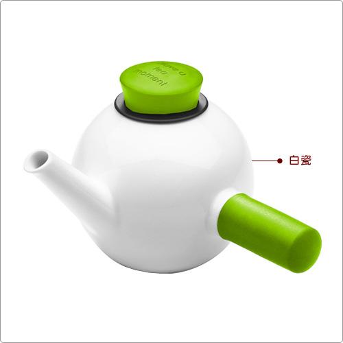 QdO 單柄白瓷濾茶壺(綠1L)