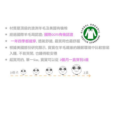 美國 Woolino 頂級羊毛嬰兒防踢被睡袍(綠色點點)