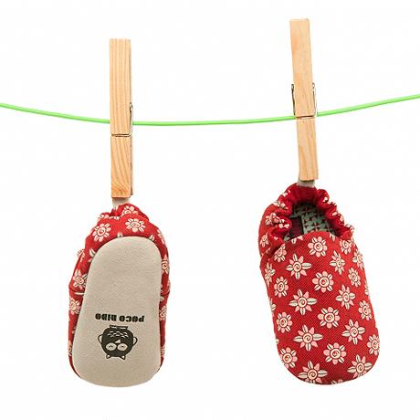 英國 Poconido 手工嬰兒鞋 紅色小花 (一歲以下)