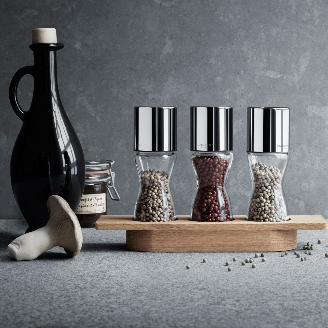 丹麥 Georg Jensen Alfredo Herb Grinders & Oak Stander 4pcs 艾爾菲雷多 香料研磨罐 四件式組合