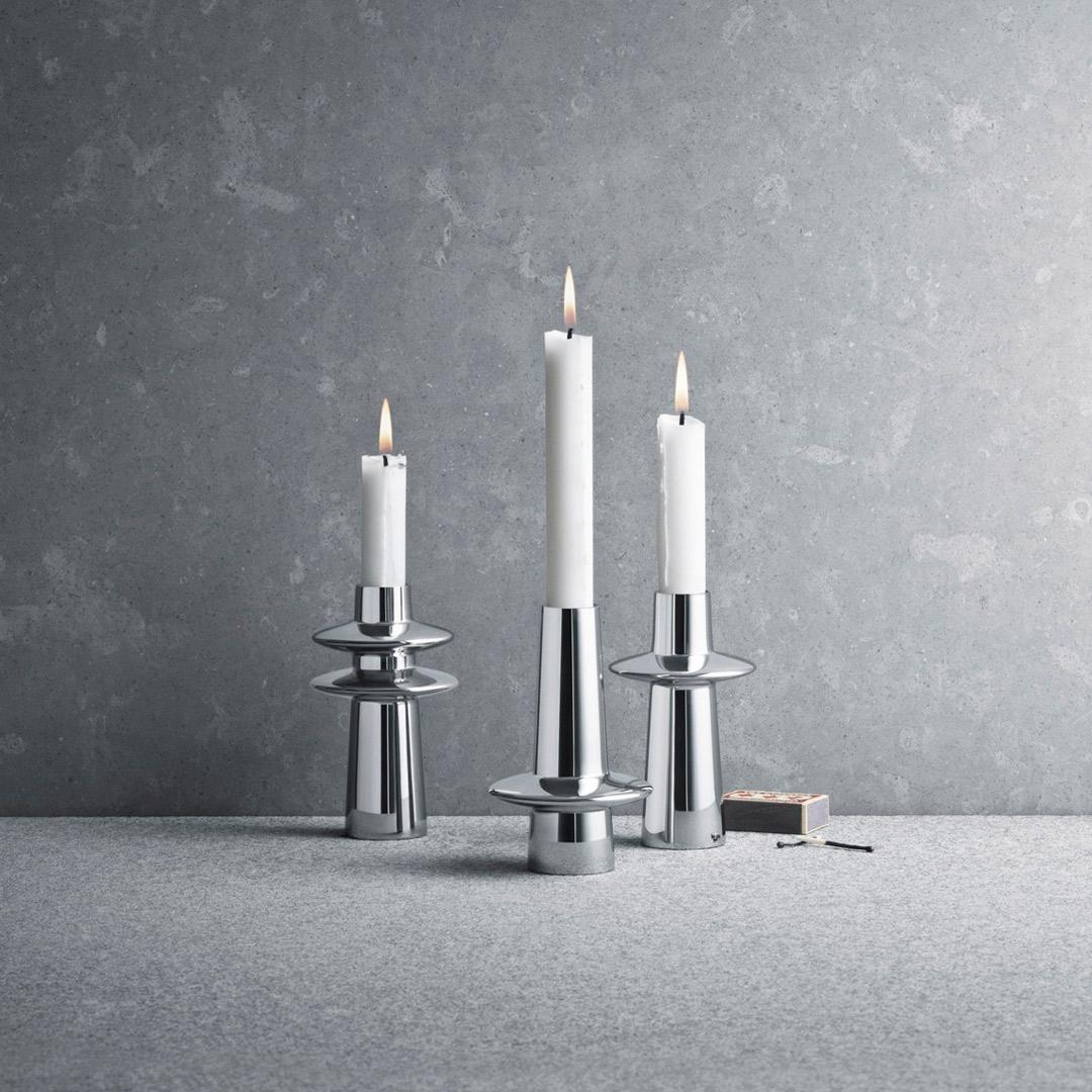 丹麥 Georg Jensen Ellipse Candleholder Set 3pcs, 彗星 燭台 三件組 (贈送原廠蠟燭)