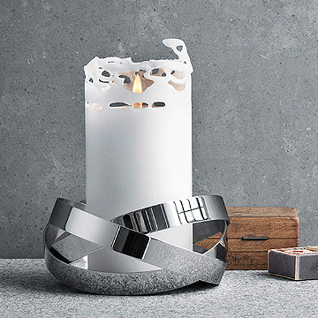 丹麥 Georg Jensen Ribbons Candleholder Small 銀色彩帶 燭台 小尺寸,Alken & Bengtsson 設計