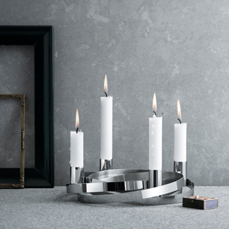 丹麥 Georg Jensen 喬治傑生 銀色彩帶 聖潔燭台 大尺寸加贈 原廠專用蠟燭 四件組 Alken & Bengtsson 設計