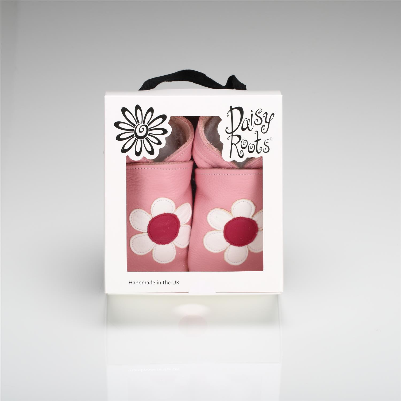 Daisy Roots 英國手工鞋S號 0~6M 新生兒 - 粉紅花瓣 LEA15S (禮盒裝)
