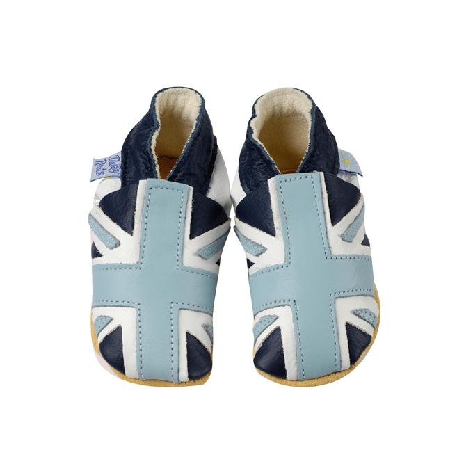 Daisy Roots 彌月禮盒 英國手工鞋S號新生兒0~6M T恤 - 藍色國旗