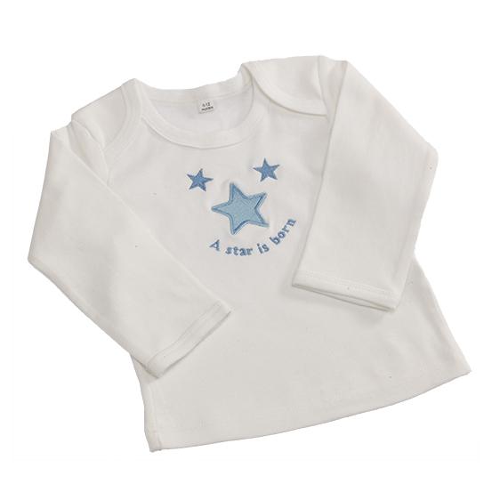 Daisy Roots 彌月禮盒 英國手工鞋S號新生兒0~6M T恤 - 藍色星星