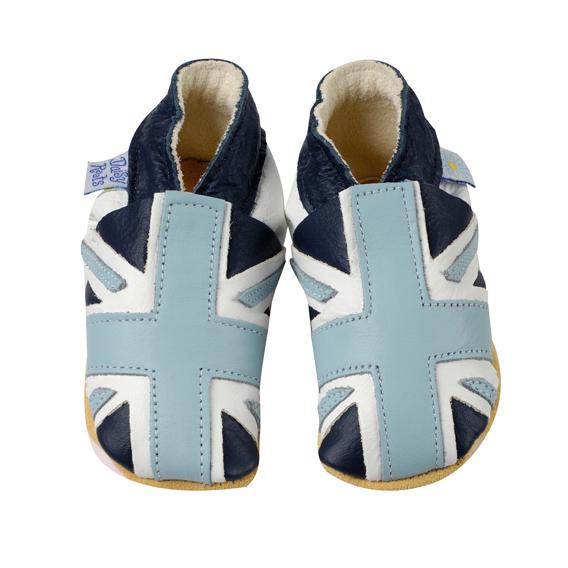 Daisy Roots 彌月禮盒 英國手工鞋M號學步兒0~12M T恤 - 藍色國旗