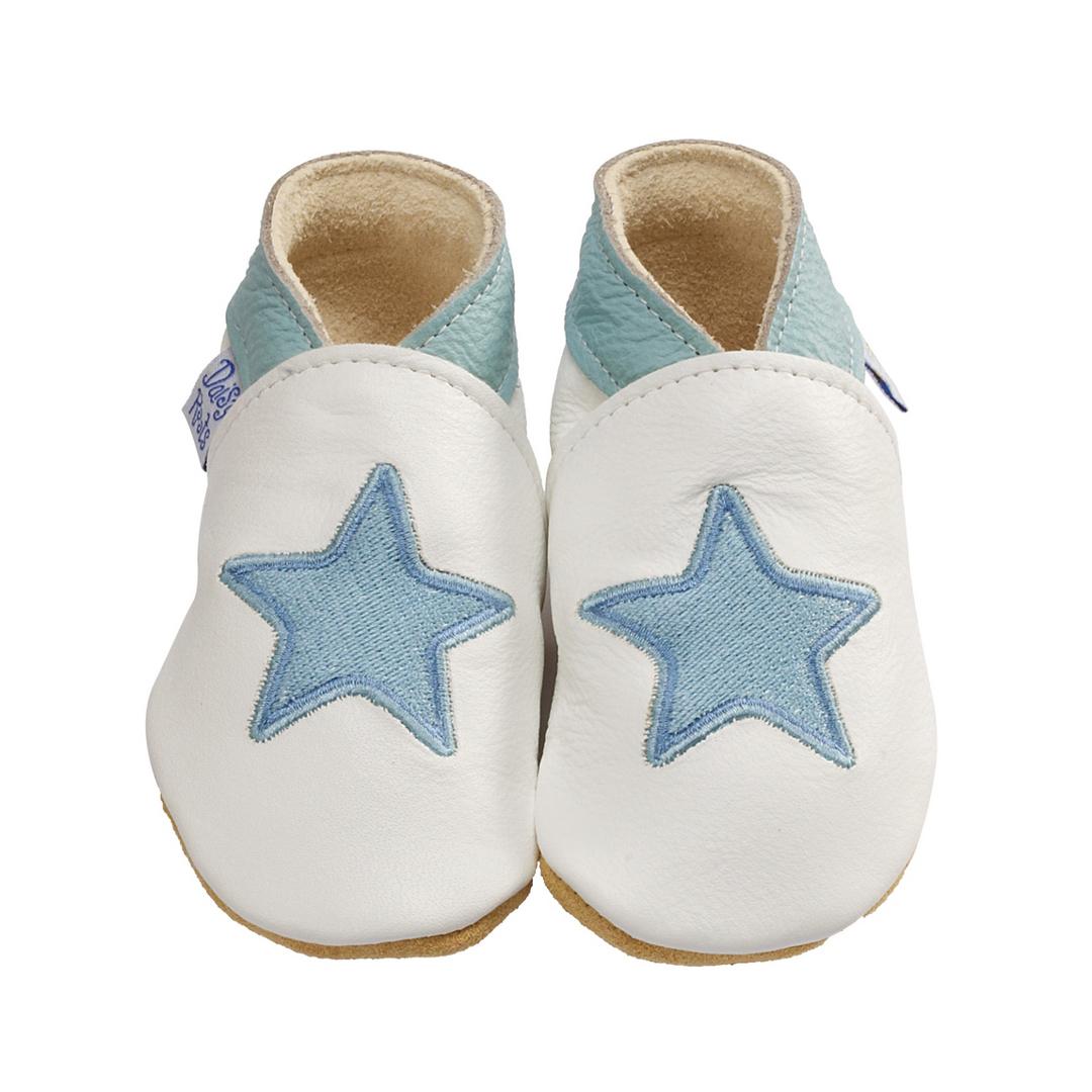 Daisy Roots 彌月禮盒 英國手工鞋M號學步兒0~12M T恤 - 藍色星星