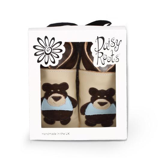 Daisy Roots 英國手工鞋L號 6~18M - 藍底小花 (禮盒裝)
