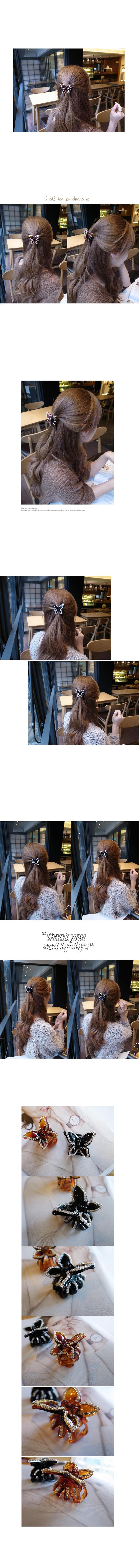 韓國 NaniWorld 氣質女孩專用鑲鑽氛圍蝴蝶髮夾 #2007 褐色蝴蝶