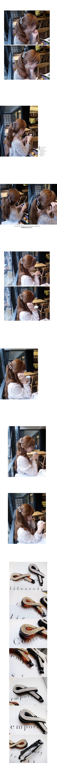 韓國 NaniWorld 碎鑽緞帶氛圍髮夾 #2014 褐色