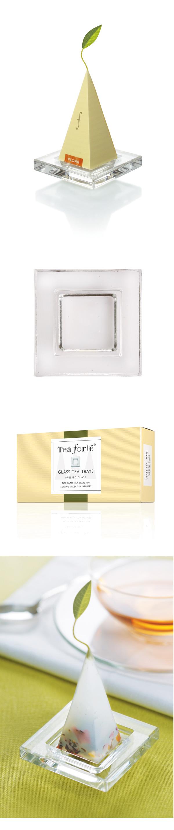 Tea Forte 2入玻璃方型茶托