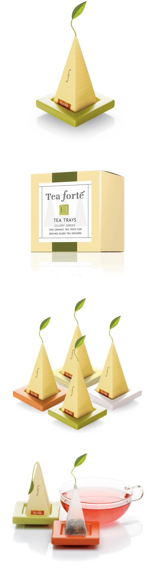 Tea Forte 2入陶瓷方型茶托(白瓷)