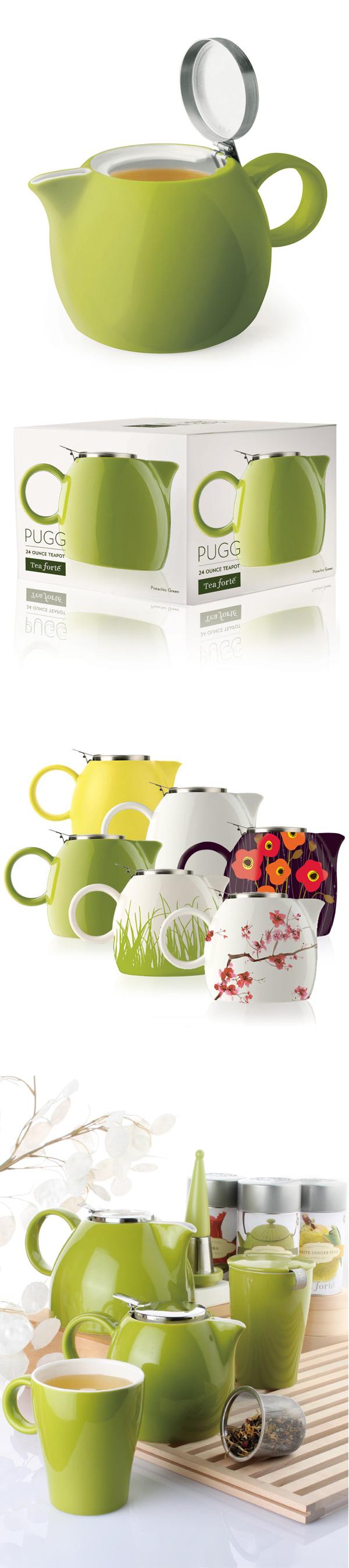 美國 Tea Forte 普格陶瓷茶壺 草綠