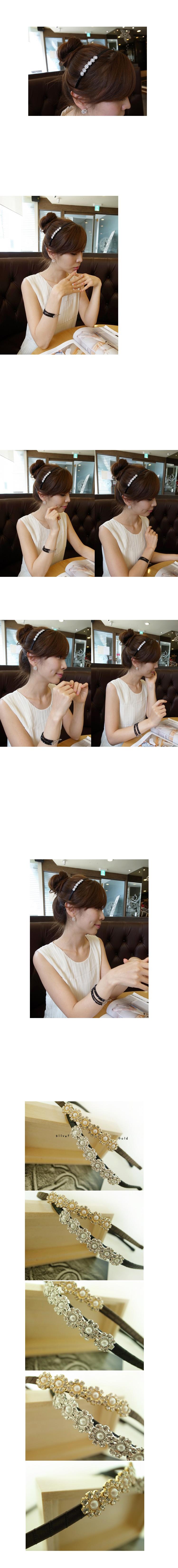 韓國 NaniWorld 珍珠碎鑽氛圍花飾髮箍 #1041 銀色