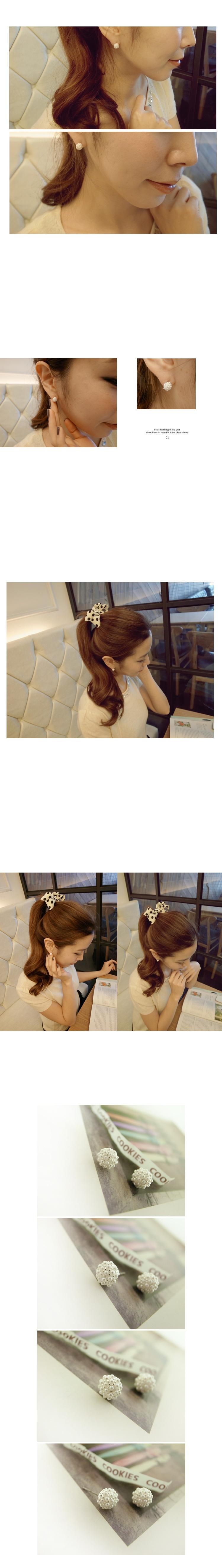 韓國 NaniWorld 珍珠白花蕊耳飾 #1704