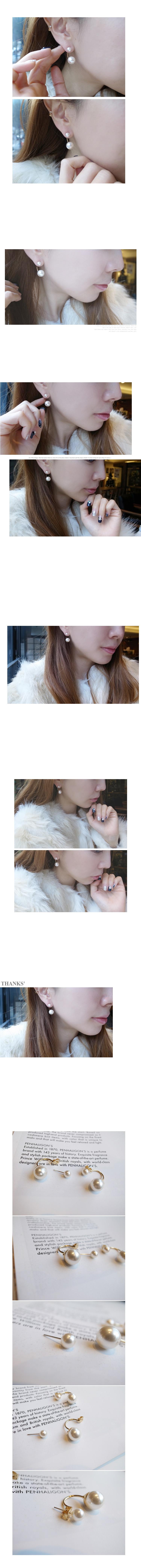 韓國 NaniWorld 大小雙珠耳飾 #2108