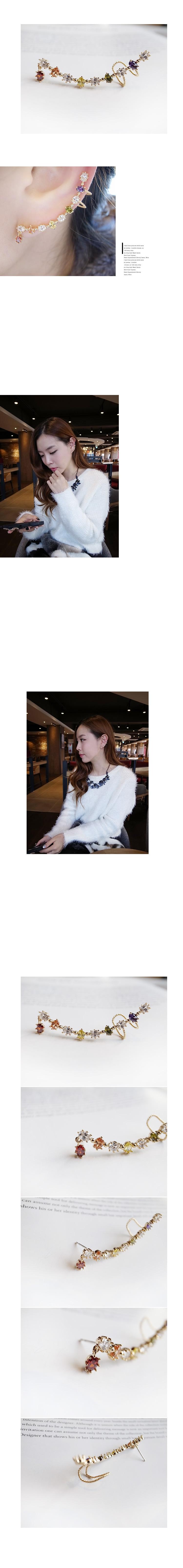 韓國 NaniWorld 彩色碎鑽氛圍耳飾 #2676