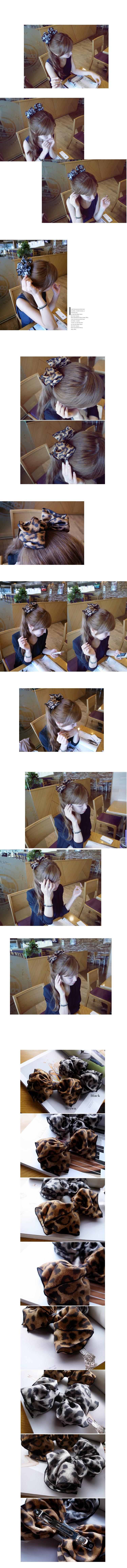 韓國 NaniWorld 氣質美女絲巾髮夾 #1956 黑色斑點