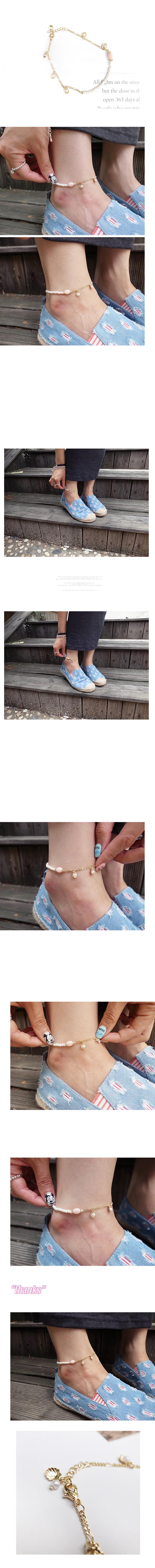 韓國 NaniWorld 氣質淑女珍珠金鍊氛圍腳飾 #3130