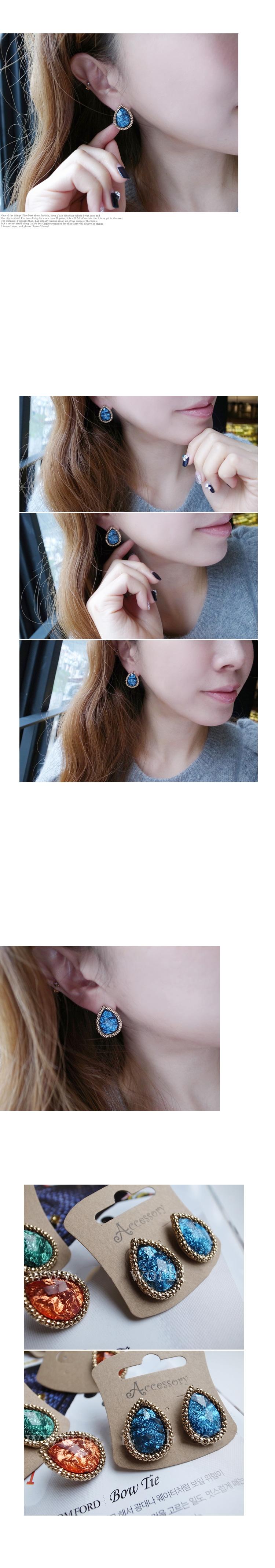 韓國 NaniWorld 藍寶石鑲金邊氛圍耳飾 #2095