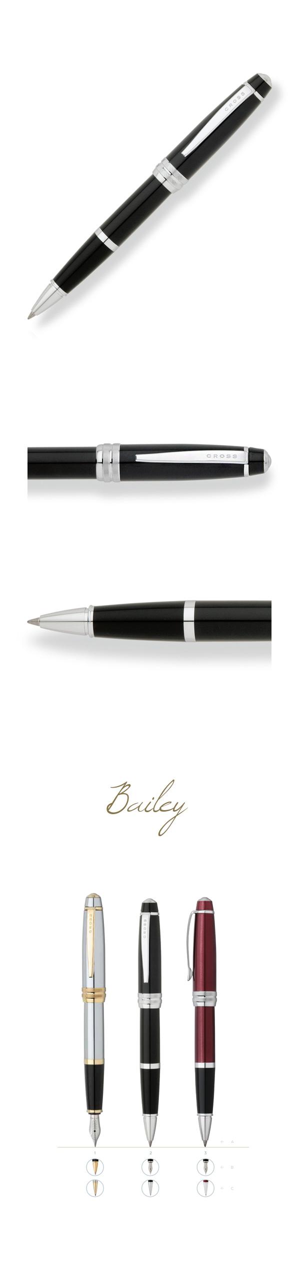 【可雷雕】美國 CROSS Bailey 黑琺瑯鋼珠筆
