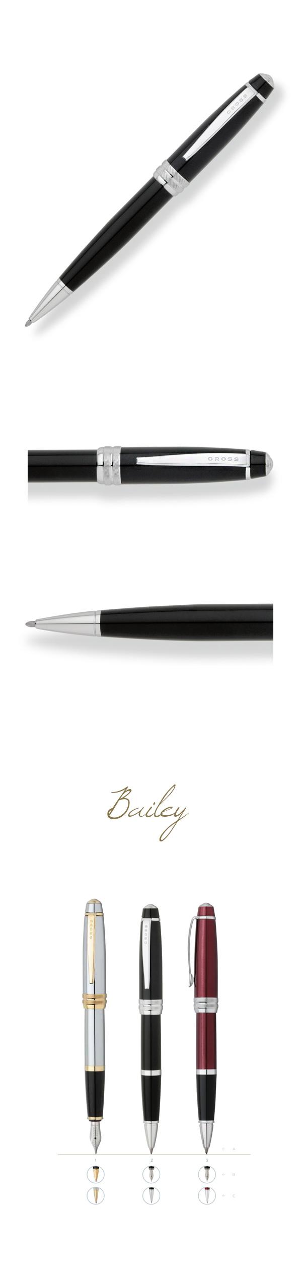 【2/20~2/26秋冬精品8折優惠!】【可雷雕】CROSS Bailey 黑琺瑯原子筆