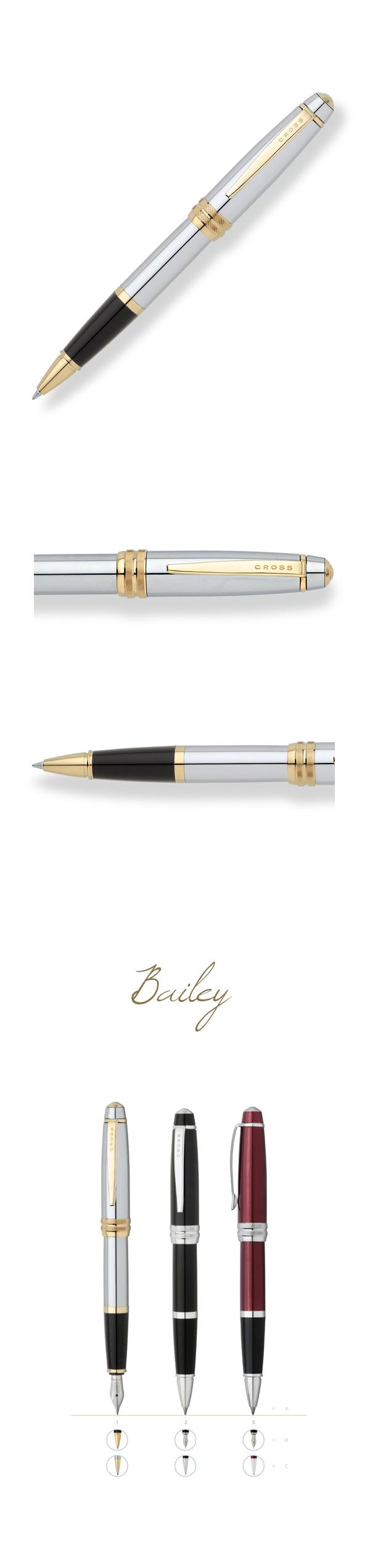 【2/28~3/6秋冬精品8折優惠!】【可雷雕】美國 CROSS Bailey 金鉻鋼珠筆