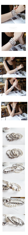 韓國 NaniWorld 金屬風磨粗仿舊五件組手環 #2373