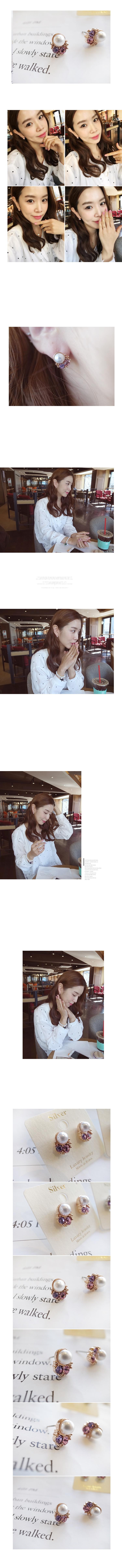 韓國 NaniWorld 珍珠雙鑽風耳環 #3524 玫瑰金
