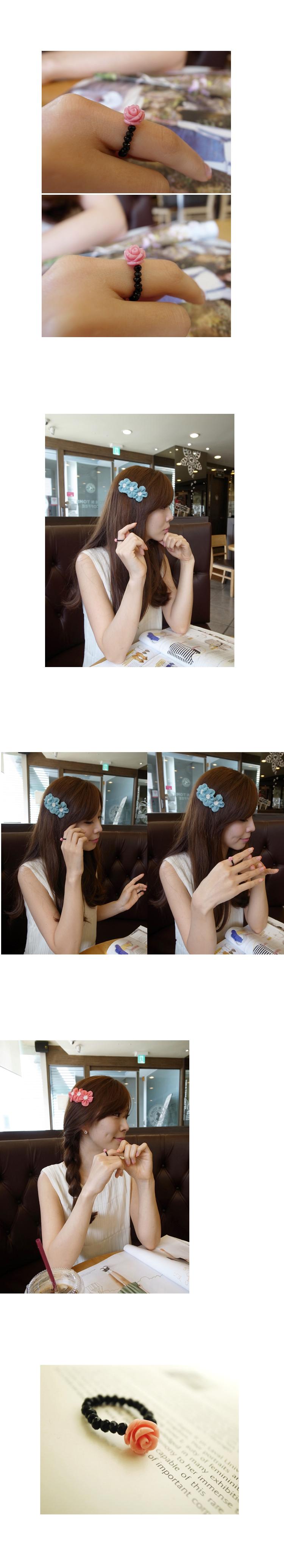 韓國 NaniWorld 玫瑰黑珠戒指 #1012