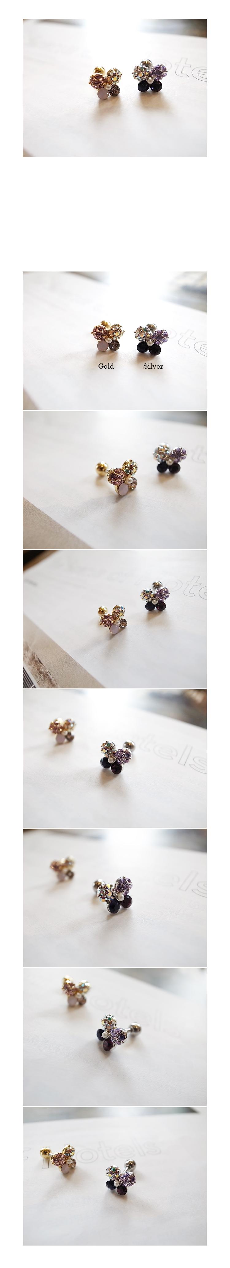韓國 NaniWorld 混色蝴蝶耳環 (單入) #3186 金色