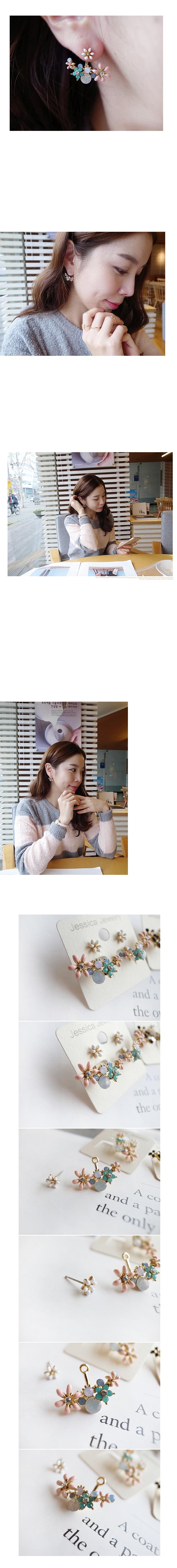 韓國 NaniWorld 粉嫩六瓣花耳環 #3423 粉紅色