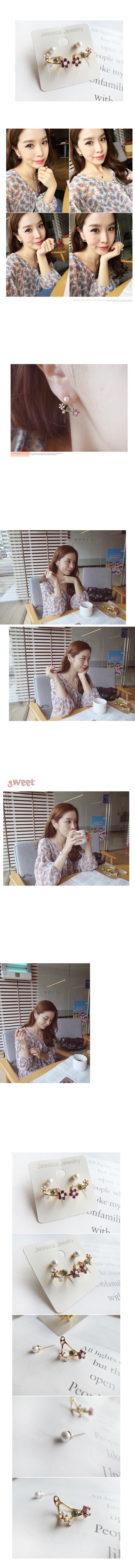 韓國 NaniWorld 珍珠風花園耳環 #3559