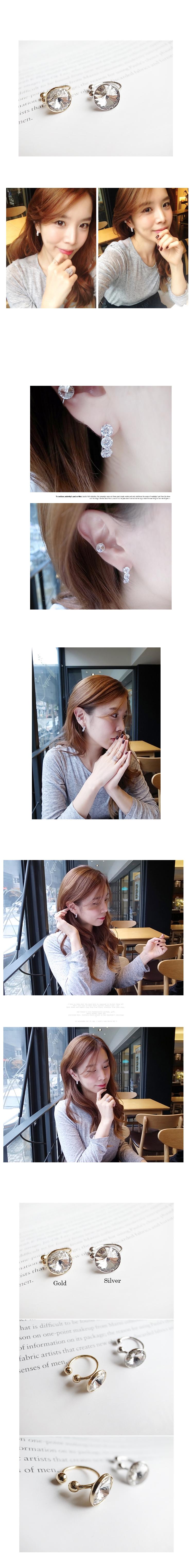 韓國 NaniWorld 閃亮風仿鑽耳骨夾 #2599 金色