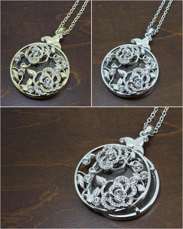 水鑽玫瑰放大鏡項鍊 銀色
