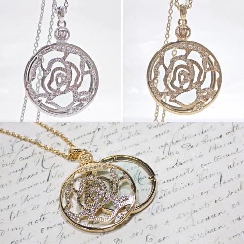 典雅玫瑰放大鏡項鍊 金色