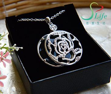 典雅玫瑰放大鏡項鍊 銀色