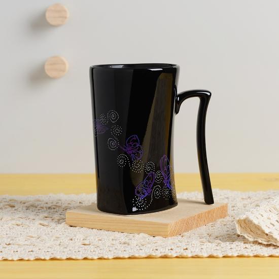 集瓷 cocera 斑斕蝶影變色寧靜杯 (亮黑/霧白對杯組)