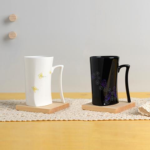 集瓷 cocera 斑斕蝶影變色寧靜杯 亮黑