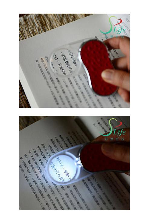 LED燈放大鏡 荔枝紅駝鳥紋