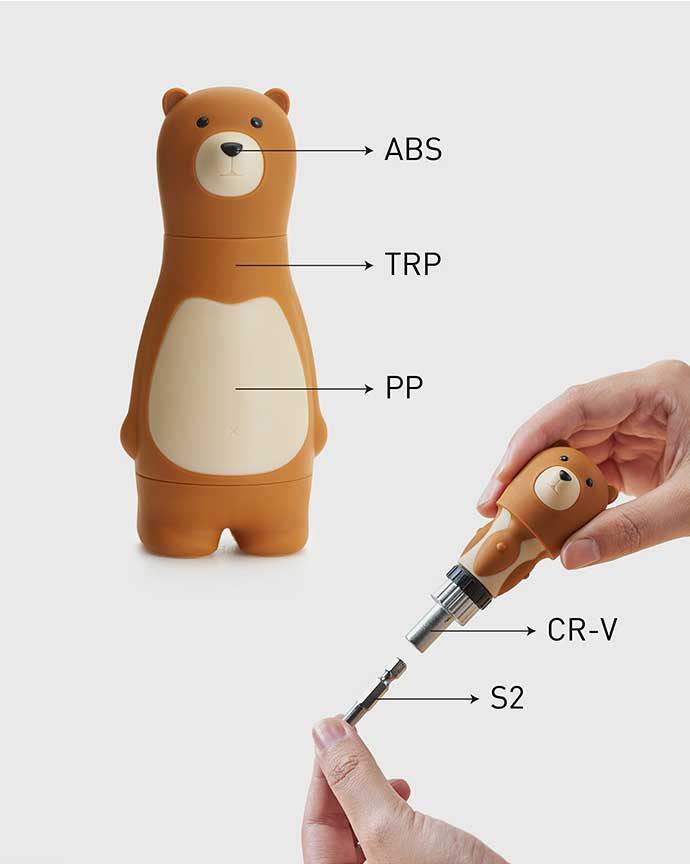 iThinking Bear Papa 棘輪螺絲起子組 咖啡色