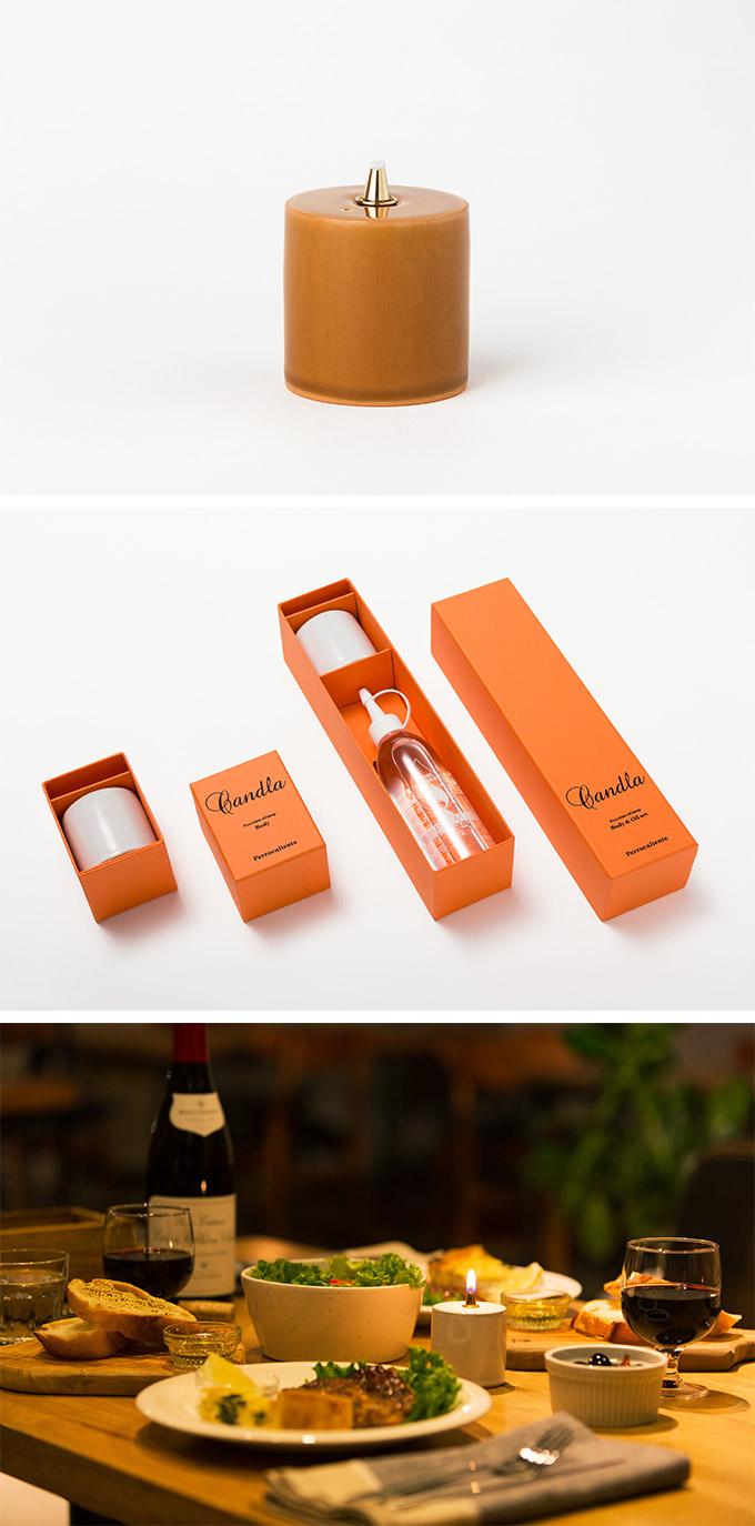 Perrocaliente CANDLA 蠟燭形蠟燭 淡茶色 (附彩虹燈油)