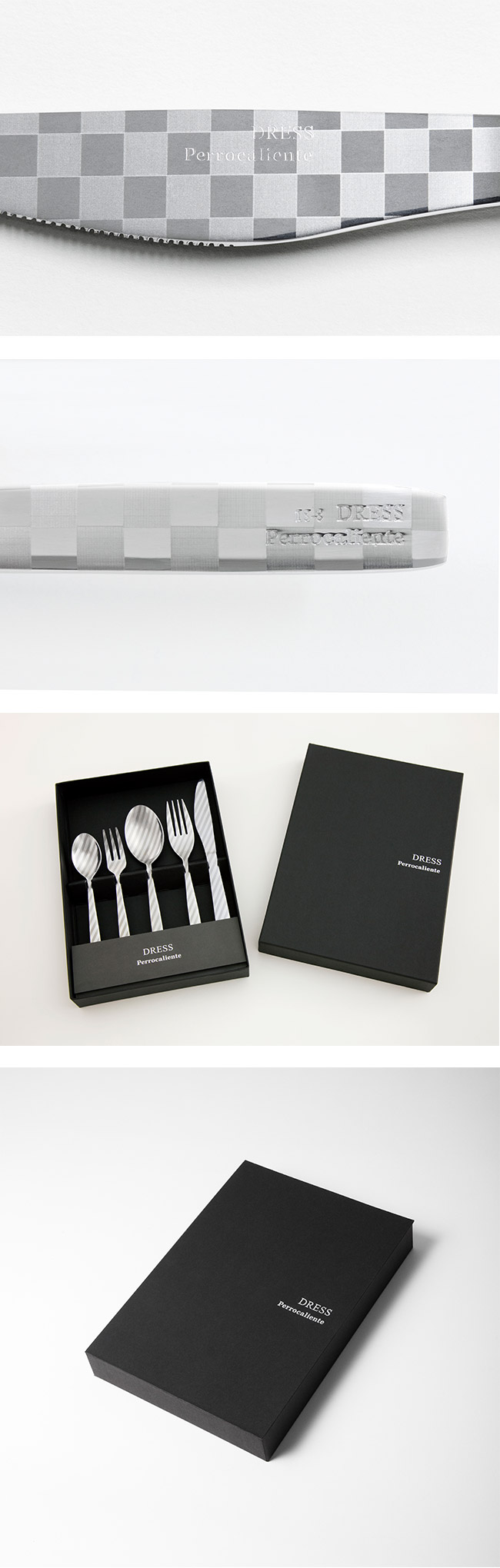 Perrocaliente Dress Gift Set 銀色盒裝餐具組 晚餐組 棋盤格 (湯匙+叉子+餐刀)