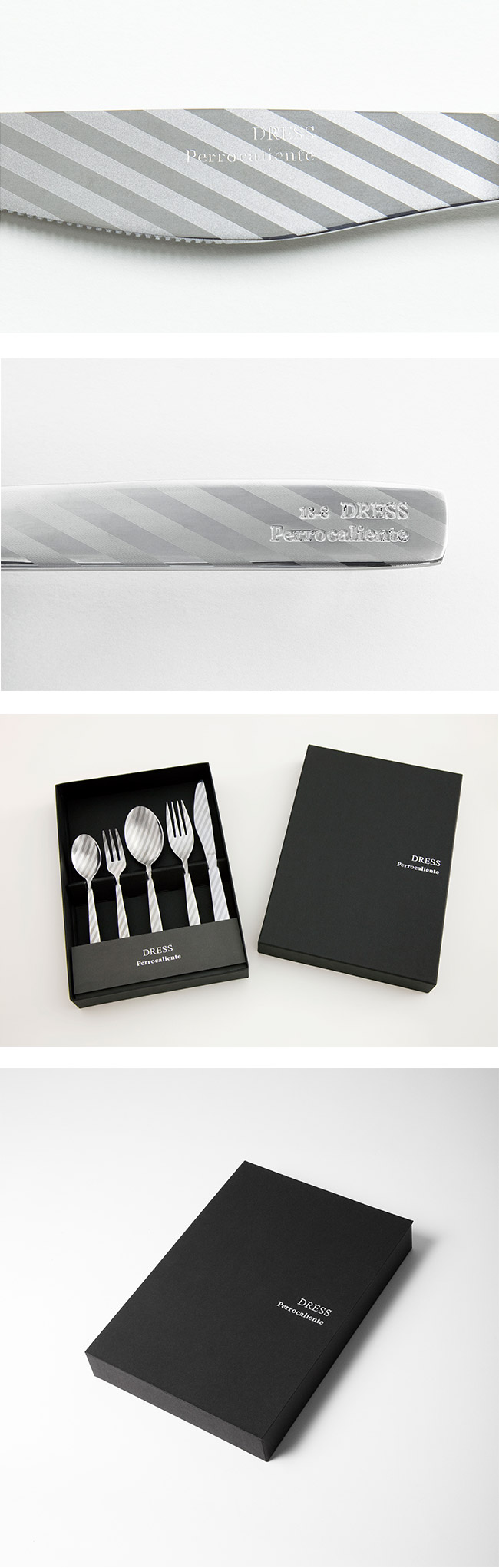 Perrocaliente Dress Gift Set 銀色盒裝餐具組 兩對組 條紋 (湯匙*2+叉子*2)