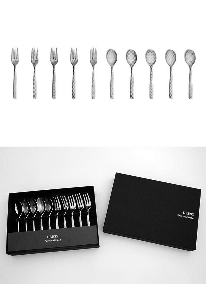 Perrocaliente Dress Gift Set 全花紋 銀色盒裝 五對組 點心叉匙五對組